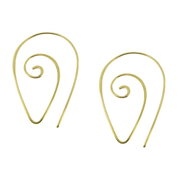 Handmade Gold Plate over Bronze Spiral Shape Earrings (USA)