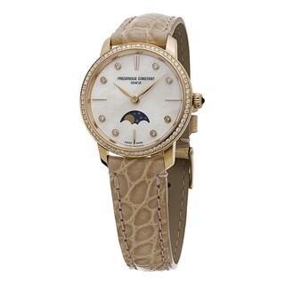 Frederique Constant Women's FC-206MPWD1SD9 'Slim Line' Mother of Pearl Diamond Dial Beige Strap Rose Gold Quartz Watch