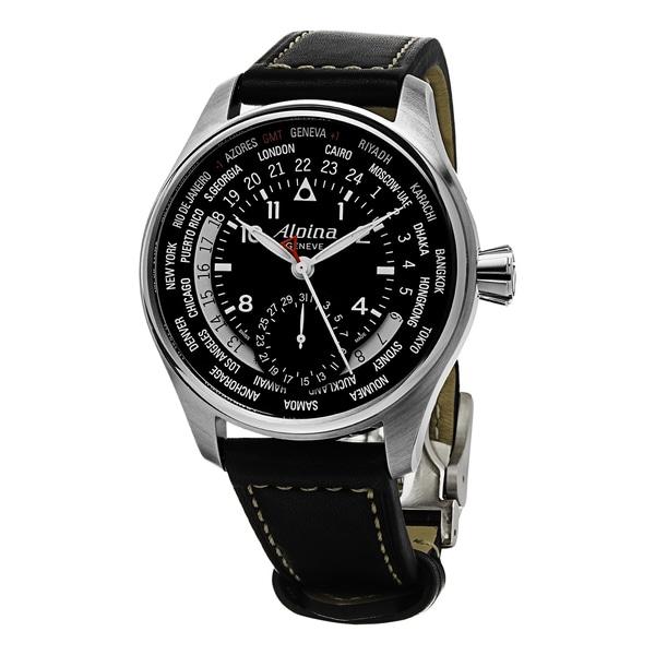 Alpina Men's AL-718B4S6 'Smartimer Pilot' Black Dial Black Leather Strap World Timer Swiss Automatic Watch