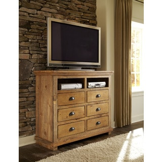 Willow Distressed Solid Pine Wood Media Chest