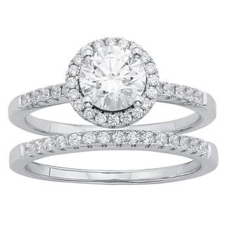 Sterling Silver Austrian Crystal Halo Bridal Set