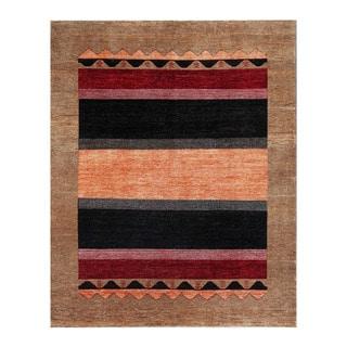 Herat Oriental Afghan Hand-knotted Tribal Vegetable Dye Gabbeh Orange/ Brown Wool Rug (7'11 x 9'9)