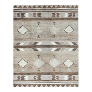 Herat Oriental Afghan Hand-knotted Tribal Vegetable Dye Gabbeh Beige/ Brown Wool Rug (8' x 10'1)