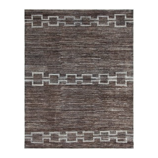 Herat Oriental Afghan Hand-knotted Tribal Vegetable Dye Gabbeh Brown/ Gray Wool Rug (8'10 x 10')