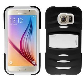 Insten Soft Soft Silicone/ PC Dual Layer Hybrid Rubber Phone Case Cover with Stand/ Screen Protector For Samsung Galaxy S6
