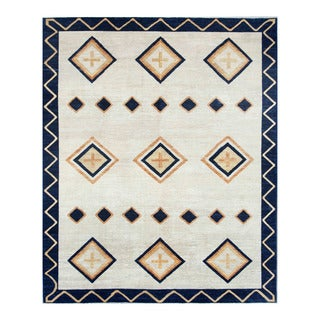 Herat Oriental Afghan Hand-knotted Tribal Vegetable Dye Gabbeh Ivory/ Blue Wool Rug (8' x 9'7)