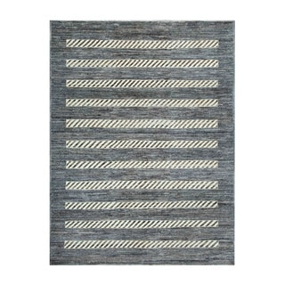 Herat Oriental Afghan Hand-knotted Tribal Vegetable Dye Gabbeh Gray/ Ivory Wool Rug (5'1 x 6'6)