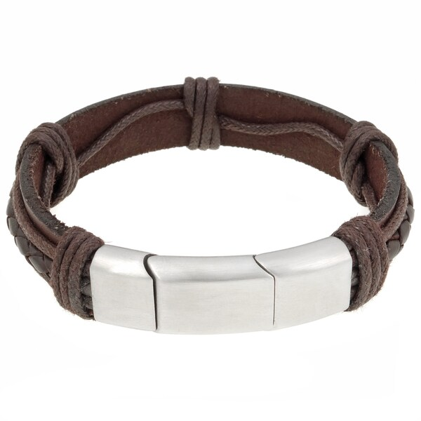 Stainless Steel Brown Leather Bracelet