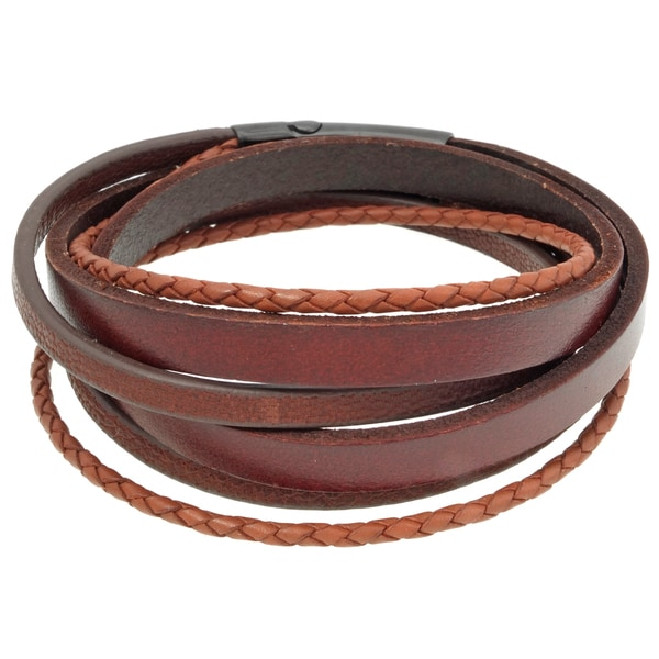 Stainless Steel Double Wrap Leather Bracelet