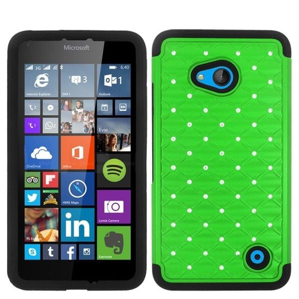 Insten Green/ Black Hard PC/ Silicone Dual Layer Hybrid Phone Case Cover For Microsoft Lumia 640 Metro PCS/ 640 T-mobile