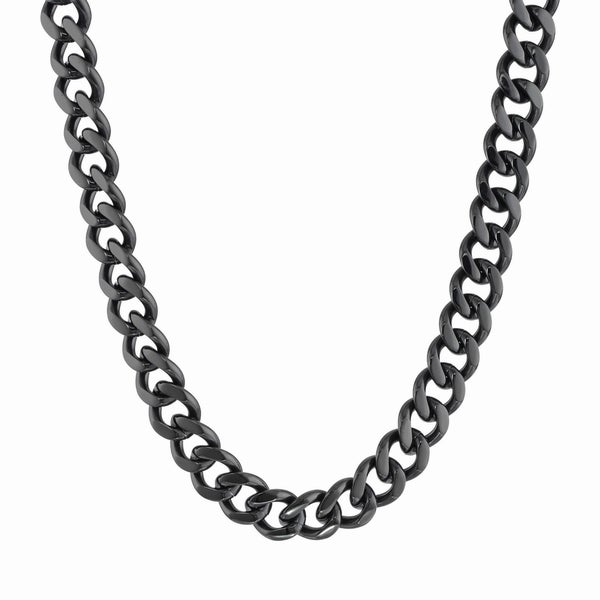 Black-plated Stainless Steel Curb Chain Necklace (12mm)