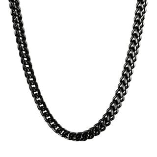 Men's Black-plated Stainless Steel Wheat Chain Necklace (6mm)