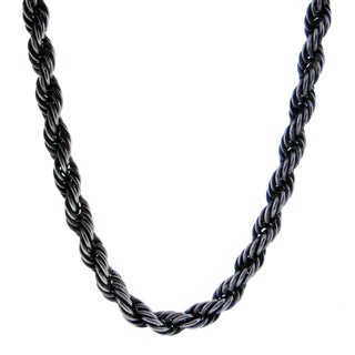 Black-plated Stainless Steel Rope Chain Necklace