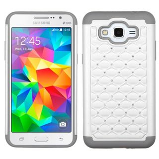 Insten Hard PC/ Soft Silicone Dual Layer Hybrid Rubberized Matte Phone Case Cover with Diamond For Samsung Galaxy Grand Prime