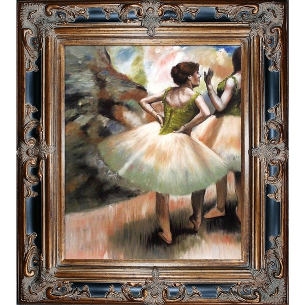 Edgar Degas 'Dancers, Pink and Green' Hand Painted Framed Canvas Art 15844101