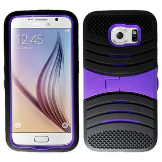 Insten Wave Symbiosis Soft Soft Silicone/ PC Dual Layer Hybrid Rubber Phone Case Cover with Stand For Samsung Galaxy S6