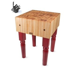 John Boos Barn Red Butcher Block 30 x 30 Table with Casters and Henckels 13-piece Knife Block Set