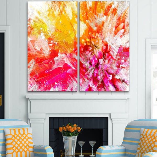 Design Art 'Vibrant Colors Flower Art' Canvas Art Print - 40Wx40H Inches - 2 Panels 15844552