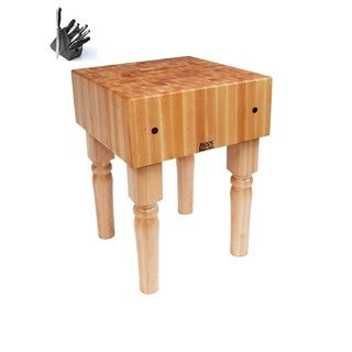 John Boos Natural Finish Butcher Block T with Casters and 13-piece Henckles Knife Set