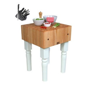 John Boos AB06-AL Alabaster Butcher Block 30 x 24 Table and Henckels 13-piece Knife Block Set