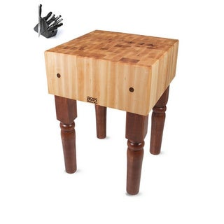 John Boos AB05-CR Cherry Stain Butcher Block 24 x 24 Table and Henckels 13-piece Knife Block Set