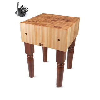 John Boos Cherry Stain Butcher Block 24 x 24 Table and Henckels 13-piece Knife Block Set