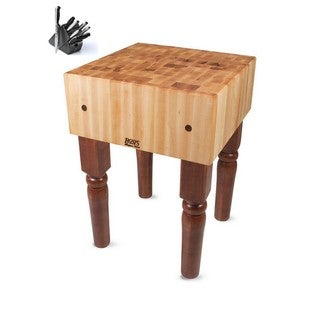 John Boos Cherry Stain Butcher Block T with Casters and Henckles 13-piece Knife Set