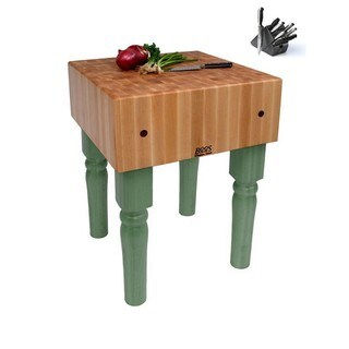 John Boos Basil Butcher Block T with Casters and Henckles 13-piece Knife Set