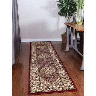 Oh! Home Persian Treasures Mahi Tabriz Red Oriental Polypropylene Runner Rug (2'3-inch x 10')