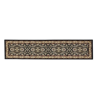 Oh! Home Persian Treasures Isfahan Black Floral Polypropylene Stair Runner Rug (2'3-inch x 16')