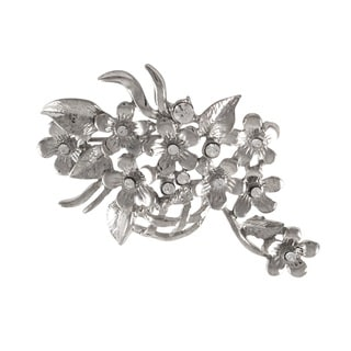 Rhodium Finish Crystals Floral Basket Pin Brooch
