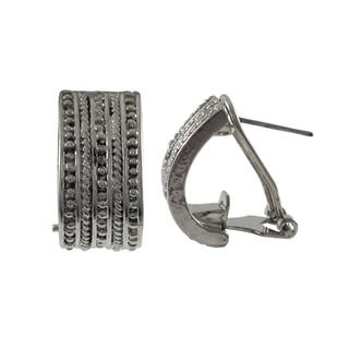Rhodium Finish Textured Channel Huggie Earrings