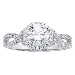 Sterling Silver 1/2ct Austrian Crystal and Cubic Zirconia Engagement Ring