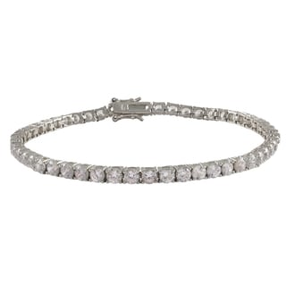 Sterling Silver Gold Finish Cubic Zirconia 3.5-mm Tennis Bracelet