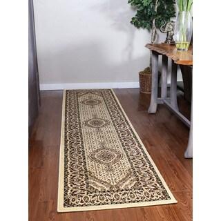 Oh! Home Persian Treasures Mahi Tabriz Cream Oriental Polypropylene Stair Runner Rug (2' 3-inch x 16')