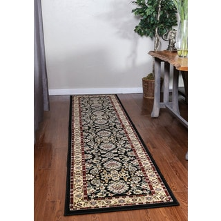Oh! Home Persian Treasures Isfahan Black Floral Polypropylene Runner Rug (2'3-inch x 10')