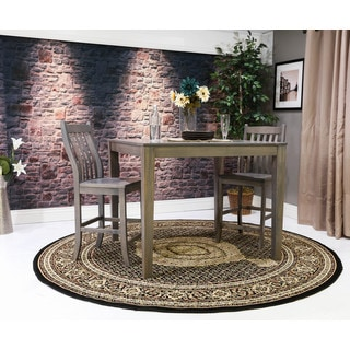 Oh! Home Persian Treasures Mahi Tabriz Black Oriental Polypropylene Area Rug (8' Round)