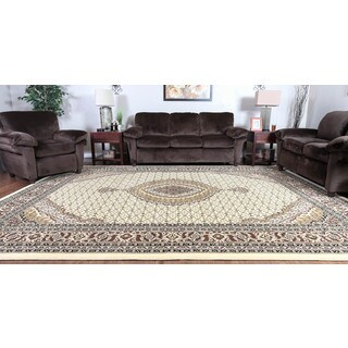 Oh! Home Persian Treasures Mahi Tabriz Cream Oriental Polypropylene Rectangular Area Rug (9' x 12')