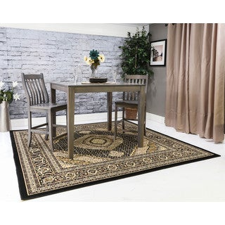 Oh! Home Persian Treasures Mahi Tabriz Black Oriental Polypropylene Square Area Rug (8' x 8')