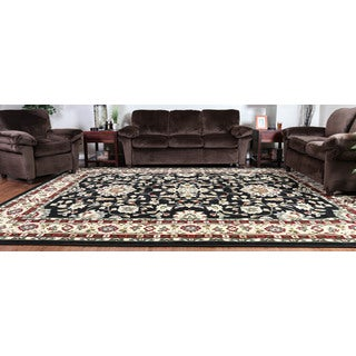 Oh! Home Persian Treasures Isfahan Black Floral Polypropylene Rectangular Area Rug (9' x 12')