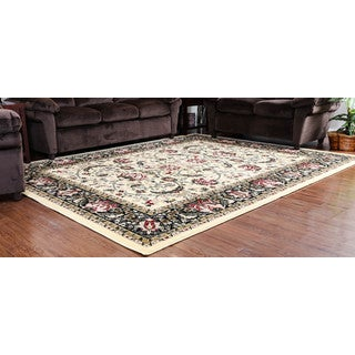 Oh! Home Persian Treasures Isfahan Cream Floral Polypropylene Rectangular Area Rug (8' x 10')