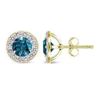 Auriya 14k Yellow Gold 1/2ct to 2ct TDW Blue Diamond Halo Stud Earrings (I1-I2)