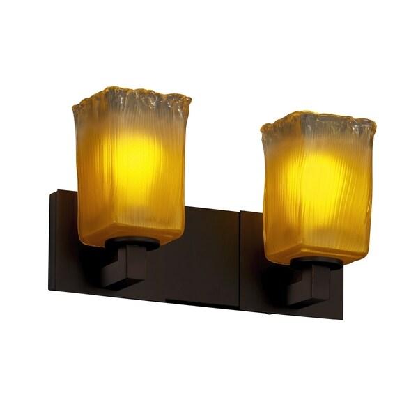 Justice Design Group Veneto Luce Montana 2-light Dark Bronze Bath Bar, Gold with Clear Rim Square - Rippled Rim Shade 15844929