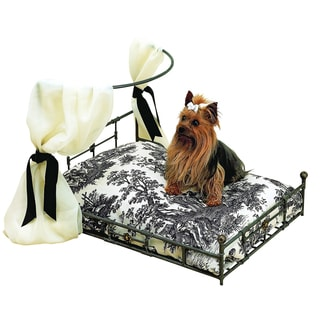 Polished Steel and Faux Brass Iron Pet Bed with Detachable Fabric Hanger