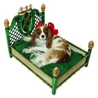 Faux Malachite Crown and Lattice Luxury Pet Bed