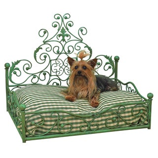 Distressed Blue-Green Iron Scroll Design Pet Bed