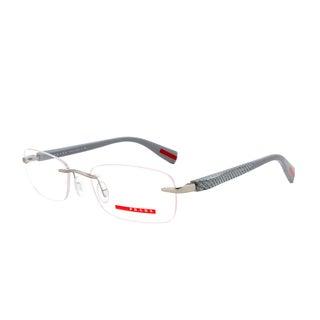 Prada Eyeglass Frames VPS 53D 1AP-1O1, Gunmetal Frame with Light Grey, Size 53