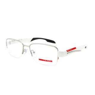 Prada Eyeglass Frames VPS 55C AAI-1O1, Light Gunmetal and White, Size 54