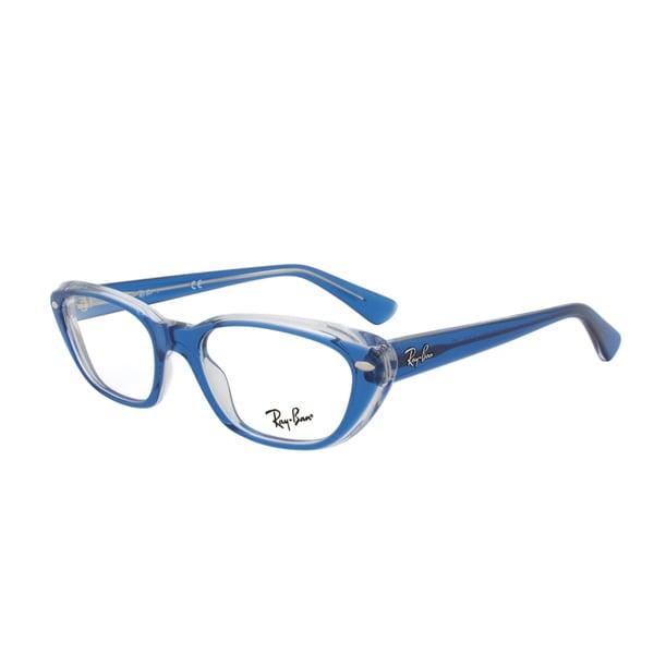 Ray-Ban RX 5242 5111 Rectangular Eyeglass Frames, Blue Frame, Size 51