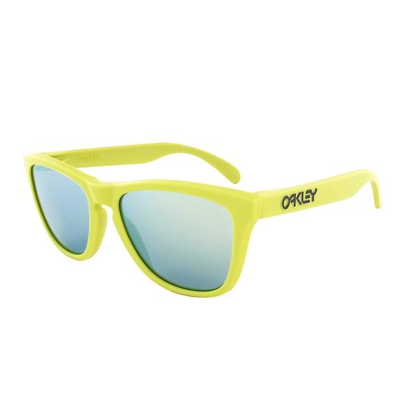 Oakley Frogskins Sunglasses OO 9013 24-31, Yellow Green Frame, Emerald Iridium Lens